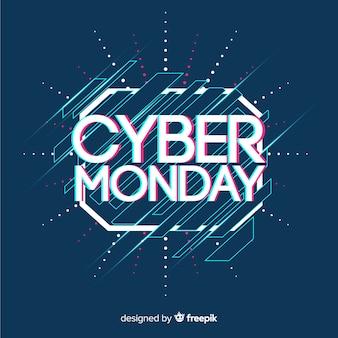 Cyber-montag-verkaufshintergrund mit störschubeffekt
