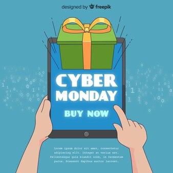 Cyber-montag-verkaufshintergrund mit tablette