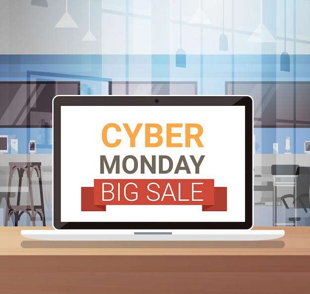 Cyber-montag-zeichen auf laptop-monitor-großem verkaufs-fahnen-design