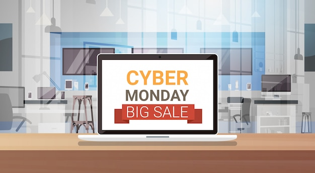 Cyber-montag-zeichen auf laptop-monitor-großer verkaufs-fahne