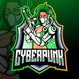 Cyber punk maskottchen esport logo design