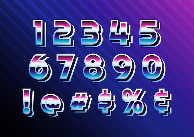 Cyber retro digital number set