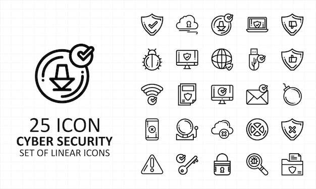 Cyber security icon set pixel perfekt
