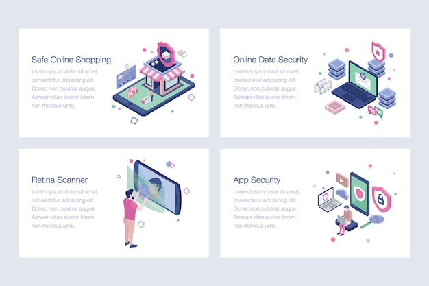 Cyber security isometric illustrations pack