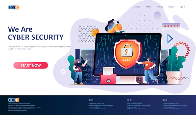 Cyber security landing page template illustration