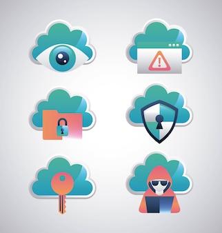 Cyber sicherheit aufkleber sicherheit wolken schild schutz überwachung schlüssel hacker computer
