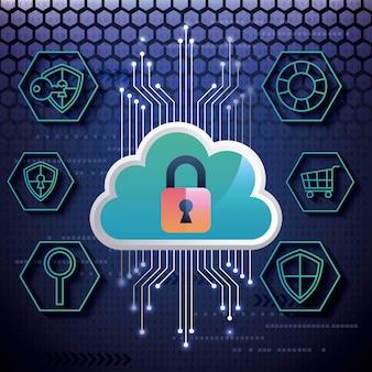 Cyber-sicherheit bienenstock binärschaltung blauer hintergrund wolke bunte vorhängeschloss sicherheit schutz