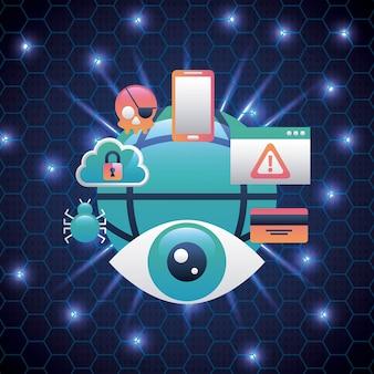 Cyber-sicherheit bienenstock schaltung hintergrund überwachung gefahr wolke spider-virus-technologie