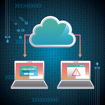Cyber-sicherheit-binär-schaltung high-speed-cloud-verbindung computer sicherheitsbenachrichtigung