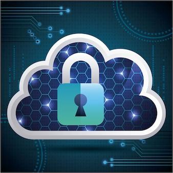 Cyber-sicherheit cloud bienenstock vorhängeschloss schutz sicherheit binär-schaltung