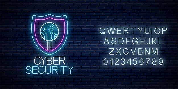 Cyber-sicherheit leuchtendes neonschild mit alphabet auf dunklem backsteinmauerhintergrund. internet-schutzsymbol mit schild und platine in der lupe. vektor-illustration.