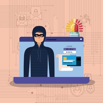 Cyber-sicherheit mit laptop und hacker