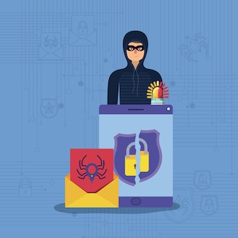 Cyber-Sicherheit mit Tablet und Hacker