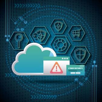 Cyber sicherheit wolke gefahr feld alert werkzeuge antivirus sicherheit schaltung hintergrund