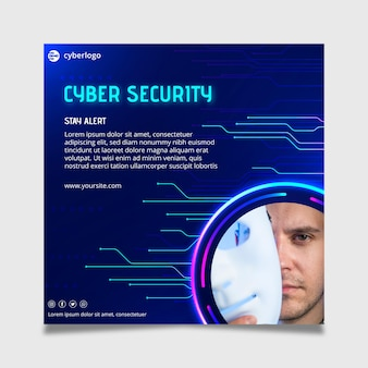 Cyber-sicherheits-flyer-vorlage mit foto