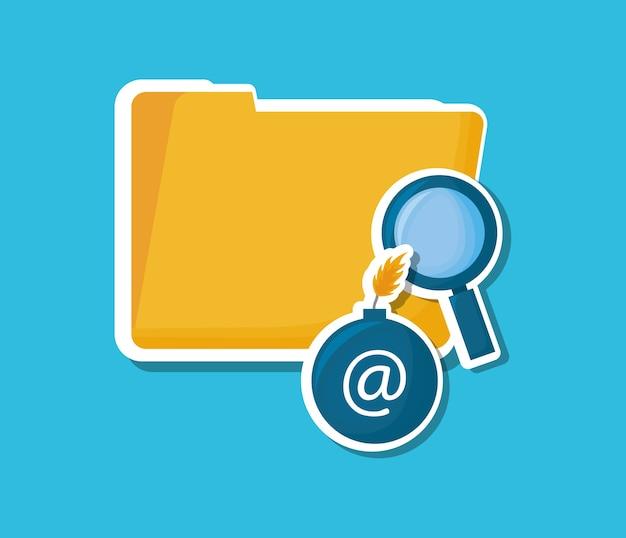 Cyber-sicherheitsdesign mit dokumentenmappe und lupe-schild