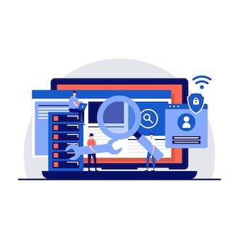 Cyber-sicherheitsdienstkonzept mit winzigem charakter.