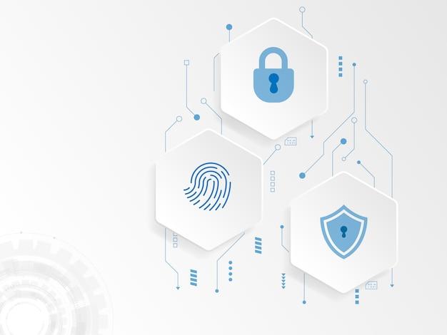 Cyber-sicherheitskonzept des abstrakten hexagon-technologiehintergrunds
