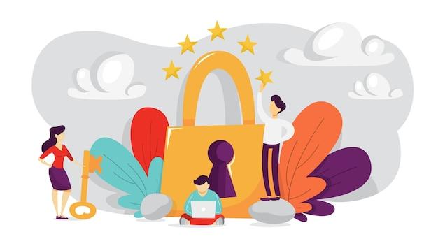 Cyber-sicherheitskonzept. idee des digitalen datenschutzes und der sicherheit. moderne technologie und virtuelles verbrechen. zugriff auf informationen über passwort. illustration