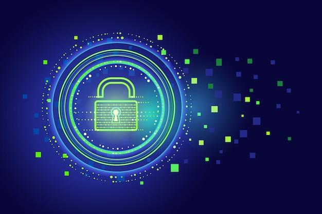 Cyber-sicherheitskonzept mit neon-vorhängeschloss