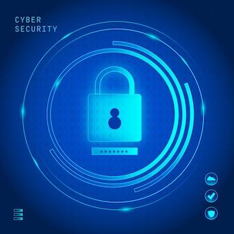 Cyber-sicherheitskonzept mit neonschloss