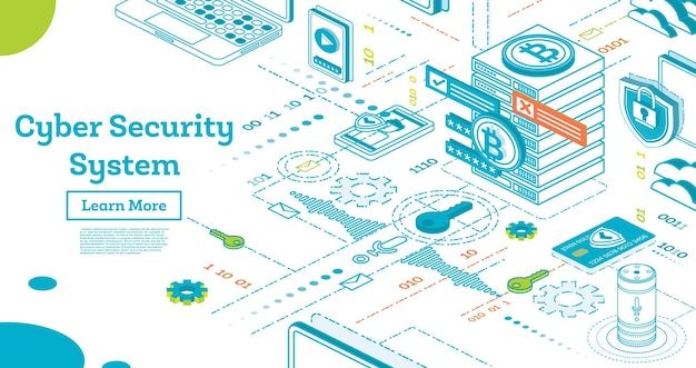 Cyber-sicherheitskonzept zu skizzieren. isometrische illustration getrennt auf weiß. datenschutz. kryptowährungsfarm. mining-server. vektor-illustration. kryptowährung und blockchain-konzept.