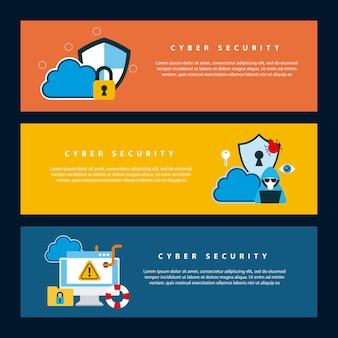 Cyber-sicherheitstechnologie banner schutz informationen wolke schild schlüsselloch wurmvirus