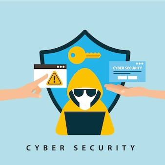 Cyber sicherheitstechnologie schild schutz schlüsselloch hacker computer gefahr warnung
