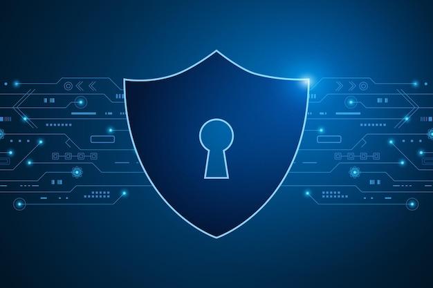 Cyber-sicherheitstechnologiekonzept schild mit persönlichen daten des schlüssellochsymbols