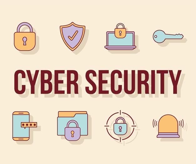 Cyber-sicherheitstext und ein bündel von cyber-sicherheitssymbolen