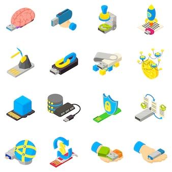 Cyber-speicher-icon-set