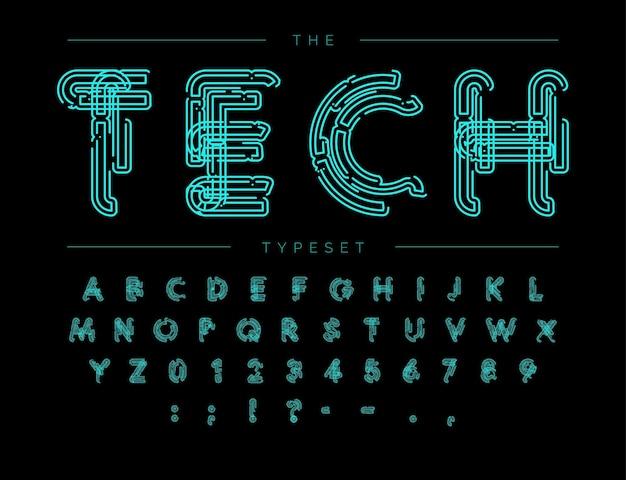 Cyber-tech-schriftart. konturschema-stil-vektor-alphabet. buchstaben und zahlen für digitales produkt, sicherheitssystemlogo, banner, monogramm und poster. satzdesign