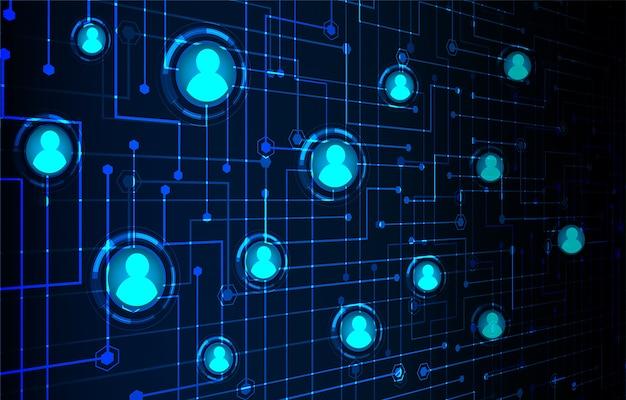 Cyber-zukunftstechnologie-konzepthintergrund des sozialen netzes