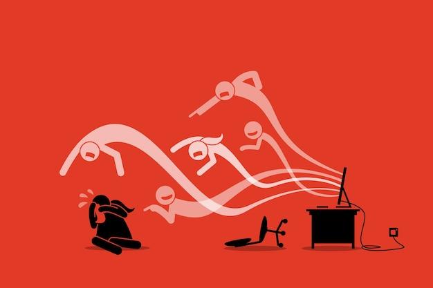 Cyberbully kommt aus dem computer-internet, um ein mädchen zu schikanieren und zu belästigen.