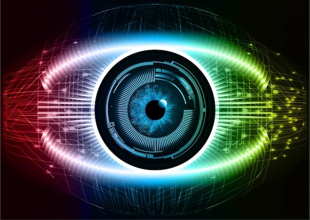 Cyberkreis-zukunftstechnologie-konzepthintergrund des blauen roten auges
