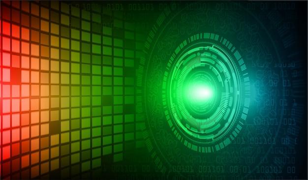 Cyberkreis-zukunftstechnologiehintergrund des blauen auges des roten