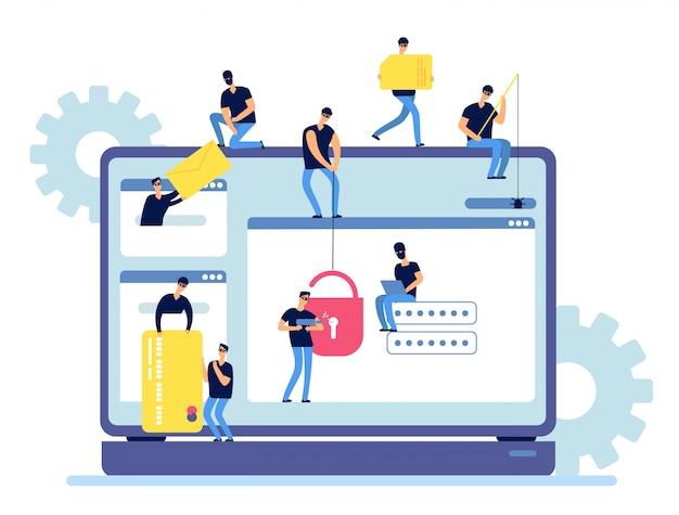 Cyberkriminelle hacken persönliche daten vom computer.