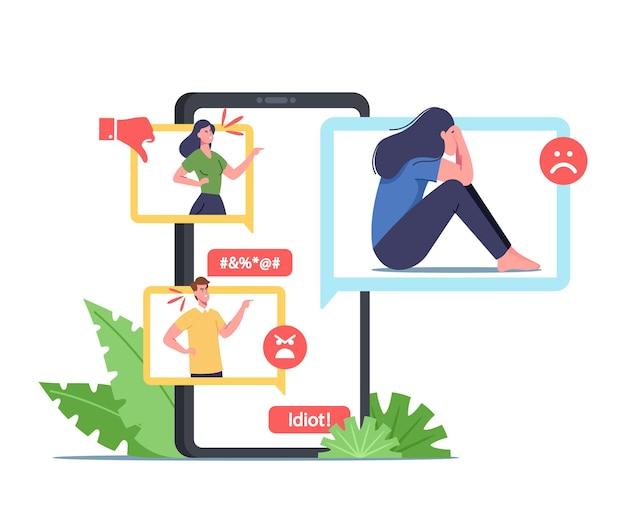 Cybermobbing missbrauch, angriff. bully hater oder troll lachen über frau im internet online network. teenager-charakter weint, nachdem er gemobbt und böse namen genannt wurde. cartoon-menschen-vektor-illustration