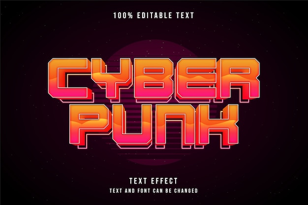 Cyberpunk, bearbeitbarer 3d-texteffekt gelbe abstufung orange rosa neon-textstil