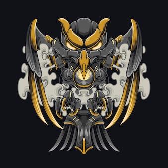 Cyberpunk crow mecha illustration steel black crow design für kleidung und kapuzen