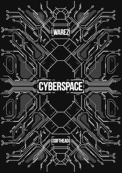 Cyberpunk futuristische banner.