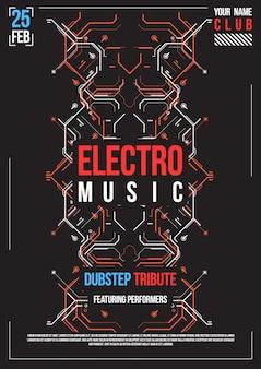 Cyberpunk futuristisches plakat. retro futuristische plakatschablone. layout für elektronische musik. flyer einer modernen clubparty.