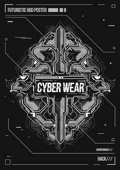 Cyberpunk futuristisches plakat. retro futuristische plakatschablone. layout für elektronische musik.