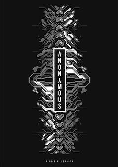 Cyberpunk futuristisches plakat. tech abstract poster vorlage mit hud-elementen. moderner flyer für web und print. hacking, cyberkultur, programmierung und virtuelle umgebungen.