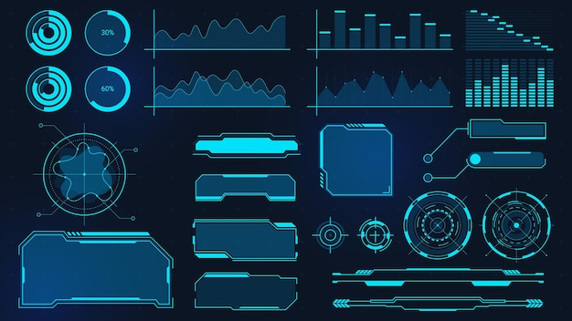 Cyberpunk-grafiken. futuristische digitale charts, balken, diagramme und frames für ui, hud und gui. techno-audiowelle, rahmen und schaltflächenvektorsatz. display mit daten für computing, virtuelles spiel