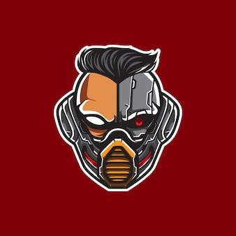 Cyberpunk head logo, humanoider roboter, vorlage