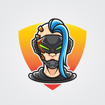 Cyberpunk-mädchen-ninja-kopf-logo