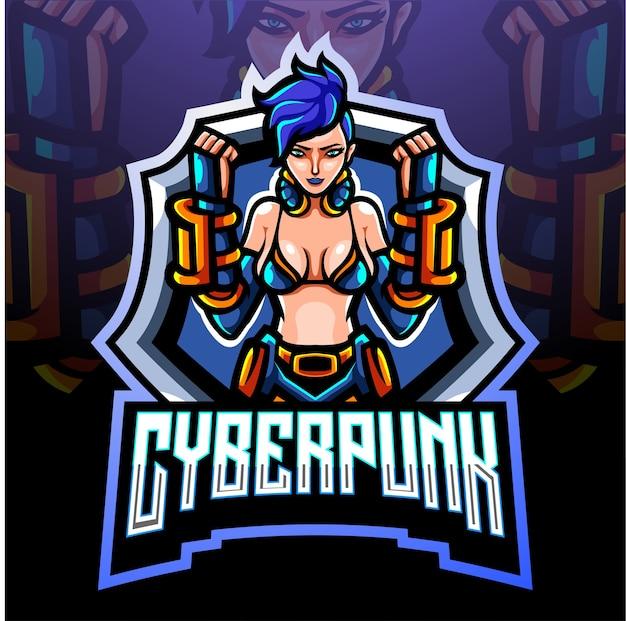Cyberpunk-maskottchen. esport logo design
