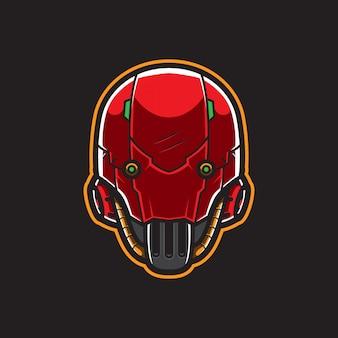Cyberpunk roboterkopf logo vorlage