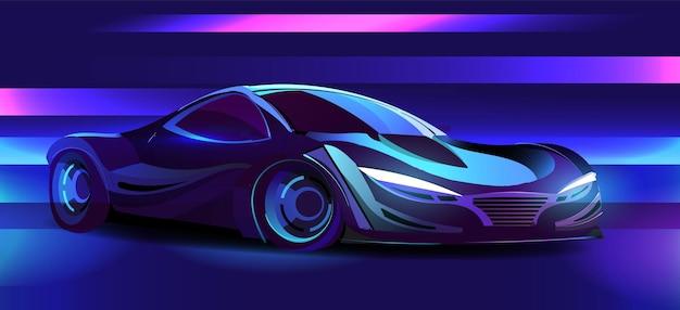 Cyberpunk-sportwagen im retrowave-stil der 80er jahre beleuchtet mit neonillustration